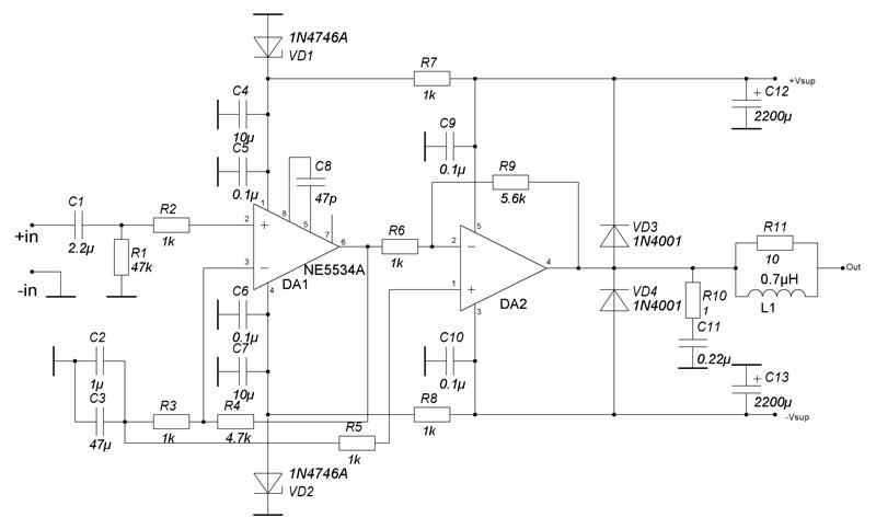 ОУ NE5534A, созданный для